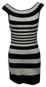 bebe Striped Bold Stripe Spandex Bodycon Mini Dress