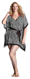 Lands End New Lands End Animal Print Black and White Plus Size 3X 20 - 24 Zebra Sheer Chiffon Tunic Beach Pool Cover Up Poncho
