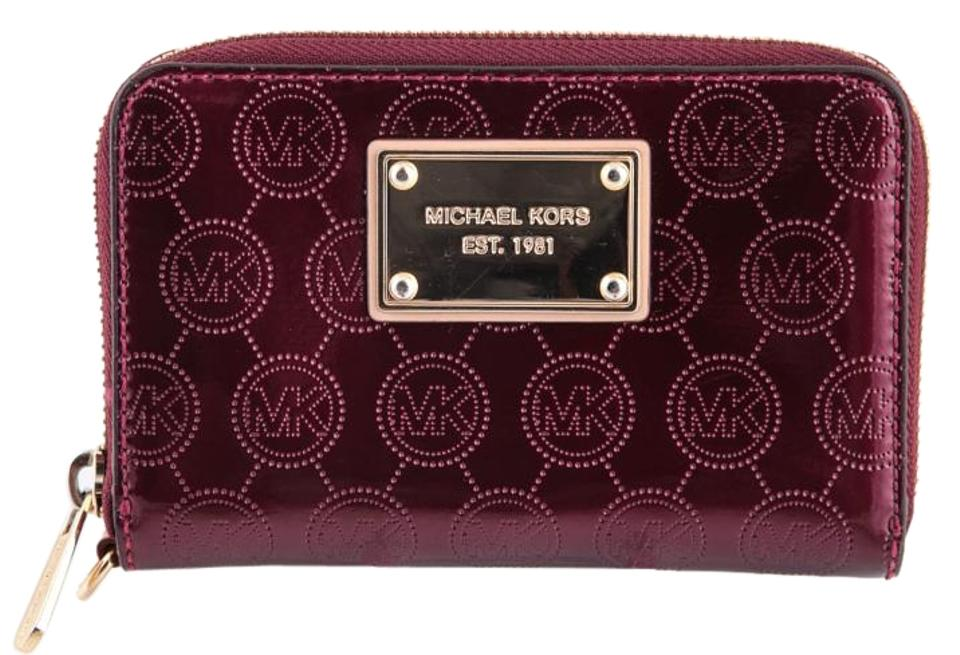 a5d5d96ad775 Michael Kors Monogram Phone Wallet Burgandy Patent Leather Wristlet ...