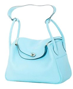 Hermès Hermes Lindy Leather Satchel in Bleu Atoll