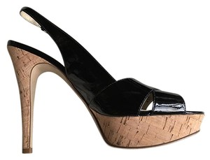 Guess Slingback Cork Platform Black Sandals