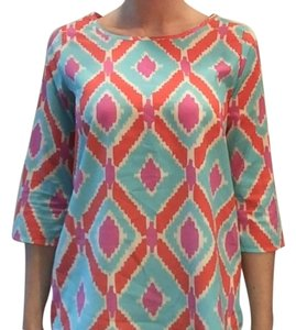 Francesca's Patterned Keyhole Top Blue, pink, coral and white print