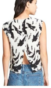 PAM & GELA Spring Summer Silk Date Night Festival Top Black & White