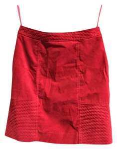 Anthropologie Casual Quilted Mini Straigth Skirt BURN ORANGE