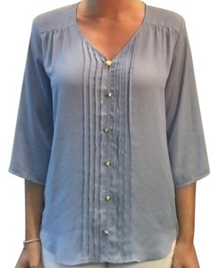 Francesca's Silky Gold Accents V-neck Top Periwinkle Blue