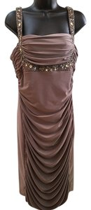 Joseph Ribkoff Beaded Draping Neckline Draping Front Dress