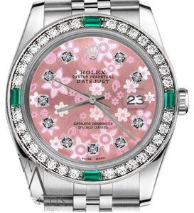 Rolex Ladies Rolex 26mm Datejust Glossy Pink Flower Emerald with Diamond Accent Watch