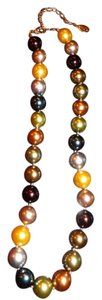 Kenneth Jay Lane Inaugral Pearl Necklce,Signed 2009/KJL on hangtag,Wonderful Colors!