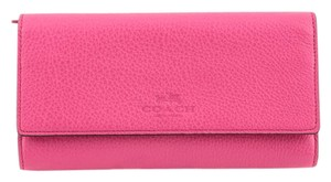 Coach * Coach Pebbled Leather Trifold Wallet Dahlia Pink