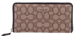 Coach * Coach Signature Outline Khaki Zip Around Wallet