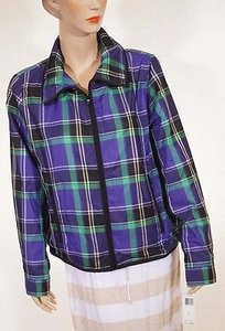 Ralph Lauren Active Womens Plaid Lined Windbreaker Coat Purple Jacket