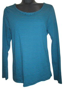 Talbots Striped Knit Cotton Top Blue & Black