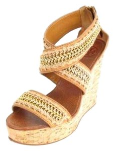 Tory Burch Cork Leather Gold Chain Tan gold Wedges