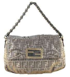 Fendi Zucca Classic Metallic Shoulder Bag