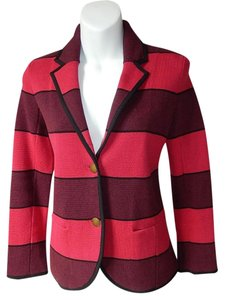 Ann Taylor LOFT Button Front Striped Red Purple Blazer
