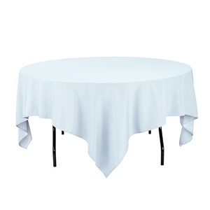 (1) 85 In. Square Polyester Tablecloth Baby Blue