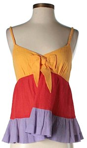 See by Chloé Sleeveless Bold Striped Ruffle Top