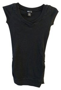 Wet Seal Ruched V-neck Tee T Shirt Black