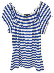 INC International Concepts Lots Of Stretch Casual Scoop Neck Nautical Top Striped, White and Goddess Blue with Silver Lining