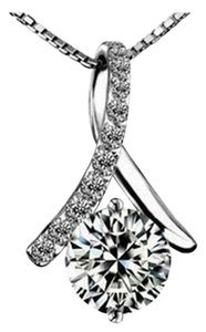 New 14K White Gold Filled Necklace Pendant Cubic Zirconia J2639