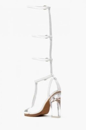 Jeffrey Campbell Jc Heels Clear Heel Strappy Gladiator Leather Gladiator Nasty Gal Gladiator Spring Heeled Clear Heel Badass White Sandals