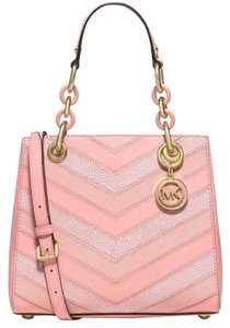 Michael Kors Cynthia Leather Satchel in Pale Pink Gold tone