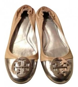 Tory Burch Khaki with Silver Toe Flats