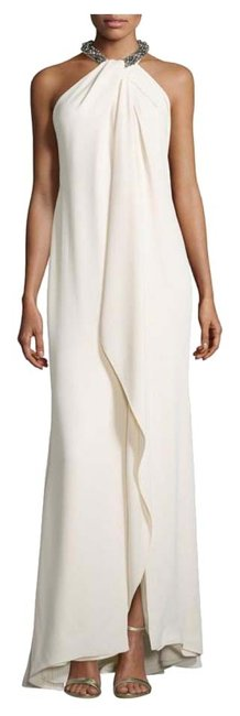 Item - Ivory Beaded Halter Gown Long Formal Dress Size 10 (M)
