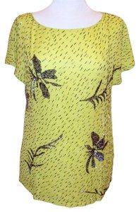 Antik Batik Hand Beaded Wide Neckline Flutter Sleeves Floral Beaded Pattern Top Yellow