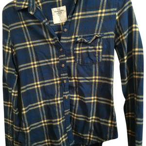 Abercrombie & Fitch Button Down Shirt Blue & Yellow