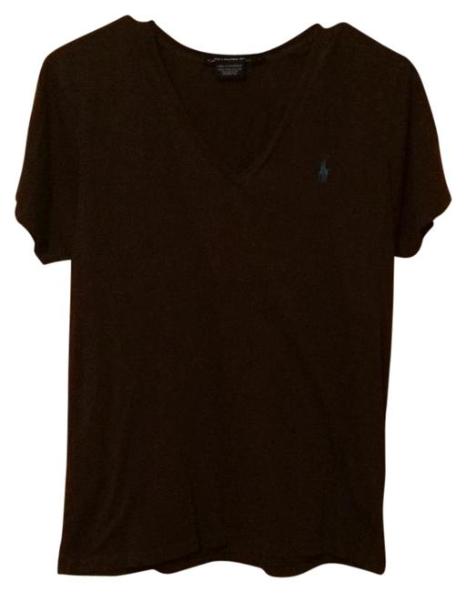 Item - Chocolate Brown with Sky Blue Logo Tee Shirt Size 12 (L)