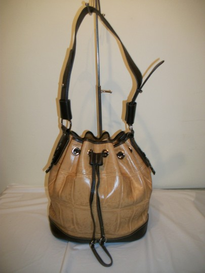 Kate Landry Crocodile Tote in Tan and Brown
