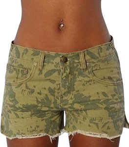 Free People Camo Distressed Cut Off Shorts Green Camo