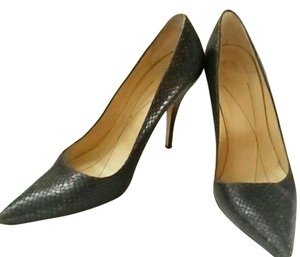 Kate Spade Leather Snake Pattern Charcoal Gray Pumps