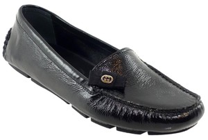 Gucci Flat 317041 Patent Leather Gg Black Flats
