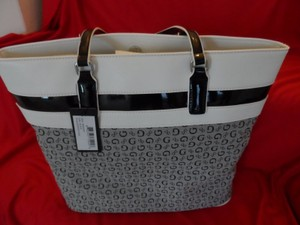 Guess Large Satchel in Grey, White and Black