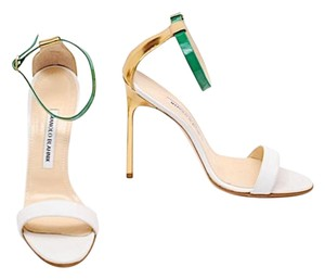 Manolo Blahnik White Gold & Green Pumps