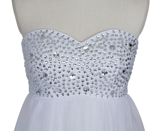 White Chiffon Crystal Beads Bodice Sweetheart Short Retro Wedding Dress Size 14 (L)