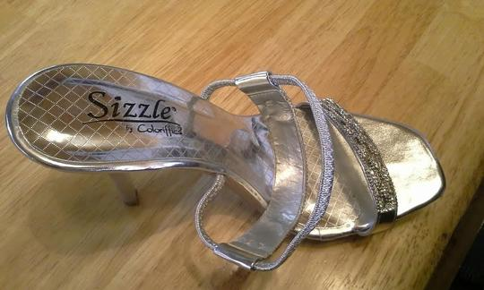 Sizzle Coloriffics Jeweled High Heel Silver Formal