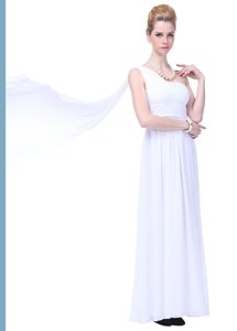 Draped One Shoulder Pleated Goddess Long Formal Wedding Dress