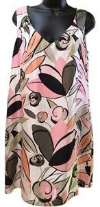 Tommy Bahama short dress white/peach/pink/gray/olive 100% Silk Floral-print Shift on Tradesy