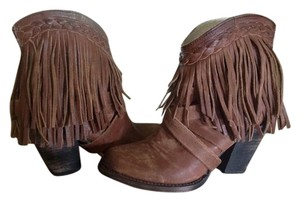 FreeBird By Steven Tonto Fringed Ankle Leather Cognac Boots