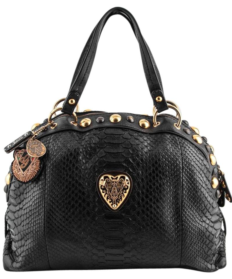 ab488d681818b Gucci Heart Studded Babouska Black Python Skin Leather Shoulder Bag ...