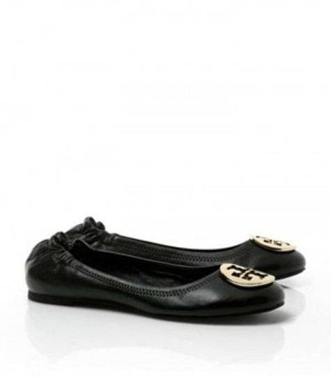 Tory Burch black with gold logo Flats