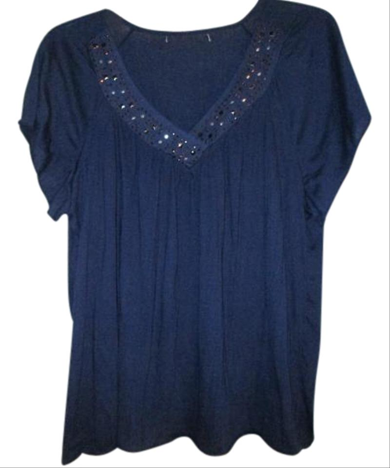 French laundry dark navy purple color blouse size 22 Navy purple color