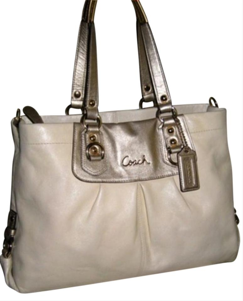 Coach Ashley Style  F15513 Bone with Silver Metallic Straps Leather ... 70306f2a85439
