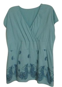 Lane Bryant Top Aqua light blue with blue pretty design.