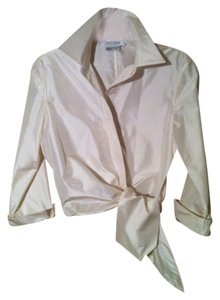 Kay Unger Tie Satin Finish Top Winter white