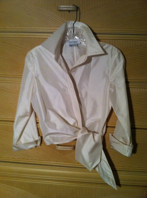 Kay Unger Tie Satin Finish Top Winter white Image 1