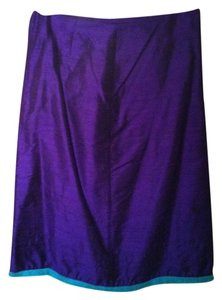 Hice Eggplant Raw Silk 100% Silk Skirt Grape and turquoise